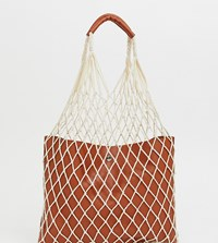 Reclaimed Vintage Inspired Net Shopper With Pu Inner And Handle Brown