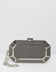 Asos Grid Box Clutch Bag With Chain Handle Silver