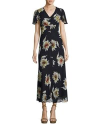 Taylor Flutter Sleeve Floral Print Chiffon Maxi Dress Blue Pattern