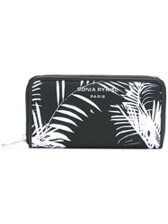 Sonia Rykiel Palm Print Zip Around Wallet Black