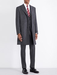 Canali Herringbone Regular Fit Wool Coat Charcoal