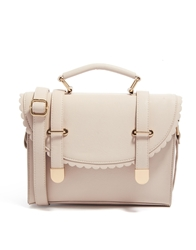 Asos Satchel Bag With Scallop Flap And Metal Tips Nude