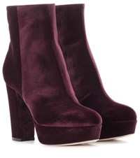 Gianvito Rossi Exclusive To Mytheresa.Com Temple Velvet Platform Boots Purple