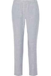 Theory Northsound Linen Blend Straight Leg Pants Light Denim
