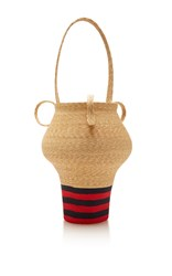 Rosie Assoulin Navy And Red Stripe Jug Bag Tan