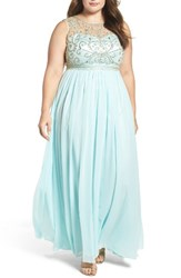 Decode 1.8 Plus Size Women's Beaded Illusion A Line Gown