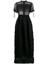 Dice Kayek Sheer Embroidered Flared Gown Black