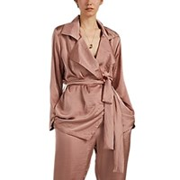 Juan Carlos Obando Washed Satin Trench Jacket Mauve