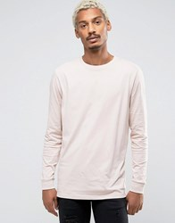 Asos Longline Long Sleeve T Shirt Pink