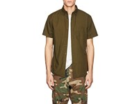 Barneys New York Cotton Button Down Shirt Olive