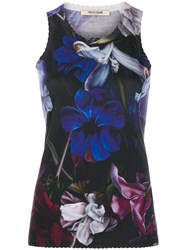 Roberto Cavalli Floral Print Scalloped Detail Top Blue