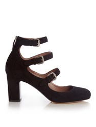 Tabitha Simmons Ginger Block Heel Suede Pumps Black
