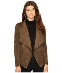 Bb Dakota Wade Faux Suede Drape Jacket Dark Olive Women's Coat