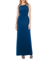 Laundry By Shelli Segal Embellished Jersey Gown Poseidon