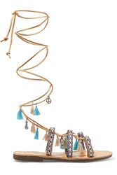 Mabu By Maria Bk Embellished Leather Sandals Turquoise Sand