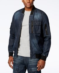 Sean John Men's Washed Denim Flight Jacket