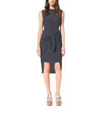 Michael Kors Polka Dot Print Tie Front Dress Petite Navy