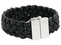 Cole Haan Braided Leather Bracelet Light Rhodium Black Bracelet