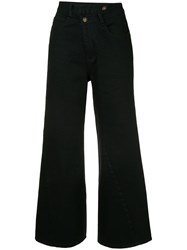 Ground Zero Cropped Flared Jeans Black