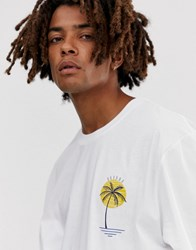 Brooklyn Supply Co. Co Extreme Relaxed T Shirt With Palm Print In White