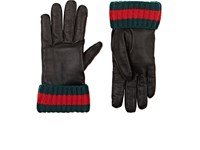 Gucci Men's Grained Leather Gloves Black