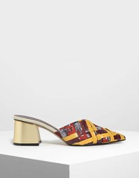 Charles And Keith Woven Pointed Mules Multi