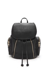 Forever 21 Zippered Faux Leather Backpack Black