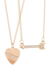 Bcbgmaxazria Heart And Arrow Necklace Set Brown
