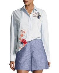 Grey By Jason Wu Striped Cotton Button Down Shirt W Floral Embroidery Baby Blue Multi