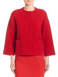 Piazza Sempione Cashmere Wool And Silk Knit Jacket Red