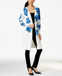 Ny Collection Floral Print Duster Cardigan