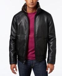 Calvin Klein Men's Pebble Faux Leather Jacket With Faux Fur Lining Black