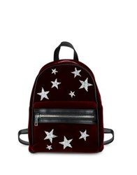 Design Lab Lord And Taylor Star Rhinestone Velvet Backpack Burgundy