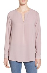 Pleione Women's Slit Neck Shirttail Blouse Pink Fawn