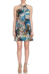 1.State Floral Print Halter Dress Gray