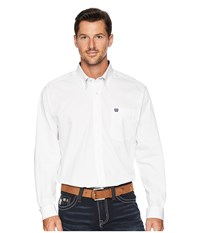 Cinch Long Sleeve Plain Weave Print White 3 Long Sleeve Button Up