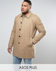 Asos Plus Single Breasted Trench Coat With Shower Resistance In Stone Stone Beige