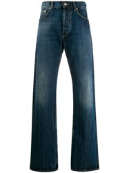 Alexander Mcqueen Logo Embroidered Straight Leg Jeans Blue