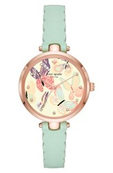 Kate Spade 'S New York Holland Butterfly Leather Strap Watch 34Mm Green Blue Pink
