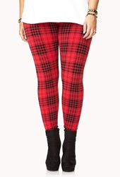 Forever 21 Grunge Rock Plaid Leggings Red Black