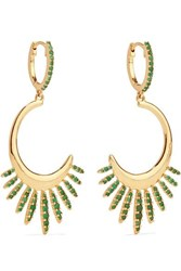 Ileana Makri Grass Sunrise Leaves 18 Karat Gold Emerald Earrings