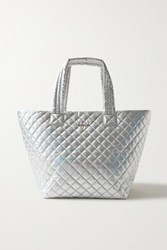 M Z Wallace Mz Metro Medium Leather Trimmed Quilted Metallic Shell Tote Silver