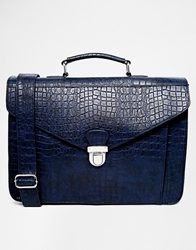 Asos Smart Faux Leather Satchel Navy