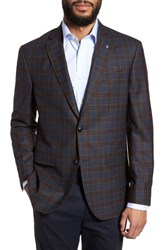 Ted Baker London Jay Trim Fit Plaid Wool Sport Coat Blue