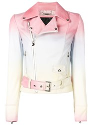 Philipp Plein Faded Biker Jacket Pink