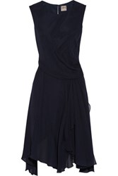 Haute Hippie Draped Silk Organza Dress Midnight Blue
