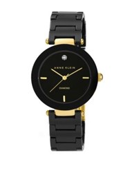 Anne Klein Ladies Round Black Ceramic Quartz Watch