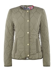 Joules Collarless Quilted Jacket Green