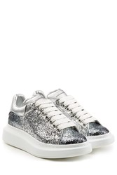 Alexander Mcqueen Glitter And Leather Sneakers Silver