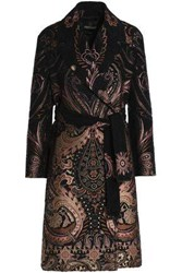 Roberto Cavalli Double Breasted Belted Chenille Jacquard Coat Black